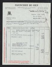 """GIEN (45) FAIENCE PORCELAINE """"FAIENCERIE de GIEN"""" en 1955"""