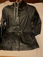 LOGG Mens Medium Black Hooded Raincoat