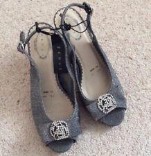 Ladies Debut Peep Toe Sling Back Court Shoes - Dark Silver Diamante UK6 Wide New