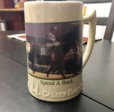 """1985 """"Spend A Buck Horse"""" Calder Race Course Collectors Mug Souvenir Stein"""