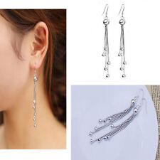 Womens Silver Chain long Tassel Eardrop Dangle Earrings fashion