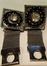 Vintage '60 Mens Black Stones Faux Diamond on Silver Base Wraparound Cufflinks