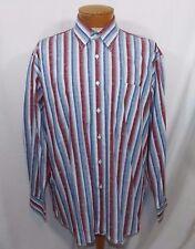 Alan Flusser Shirt  Paisley Stripes Red White Blue Sz XL XLarge