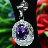 NATURAL 7 X 9 mm. PURPLE AMETHYST & WHITE CZ PENDANT 925 STERLING SILVER