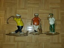 Vintage 1967 Metal Golfer Wall Hangings Sexton Company Cast Iron Usa Lot 3