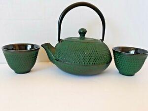 Enameled Cast Iron Metal Tea Pot Kettle Asian Green 2 Cups Infuser/Strainer
