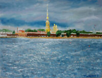 Peter and Paul Fortress St.Petersburg Board 12x16 Hand Russian Painting JS Art