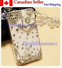 3D Camellia Flower Diamond Case Cover Skin for iPhone 5 5G 6th Gen White frm CAN