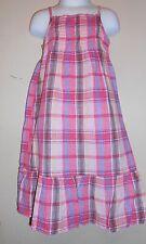 Old Navy Toddler Girls Linen Blend Ruched  Bodice Plaid Dress + Panty Pink 2T