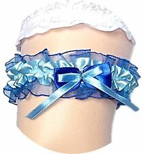 Satin Strumpfband Braut blau dunkelblau Hochzeit mit Schleifen