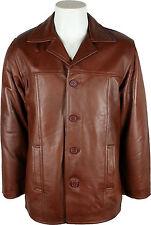 UNICORN LONDON Mens Classic New Brown Leather Jacket 'Size S/EU 38':N9