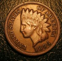 OLD US COINS 1894 INDIAN HEAD CENT PENNY FULL LIBERTY BEAUTY