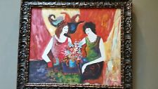 Vintage Oil Painting Two Women Signed
