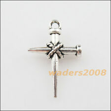12 New Charms Tibetan Silver Nail Cross Pendants DIY 16x24mm