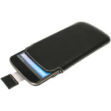 Black Genuine Leather Pouch Case Cover for LG Google Nexus 4 Android Smartphone