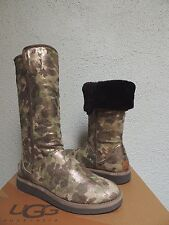 UGG COLLECTION ABREE METALLIC GREEN CAMO SHEARLING BOOTS, US 7/ EUR 38 ~NEW