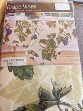 Grape Vines Tuscan Vinyl Tablecloth Oblong 60 x84  Seats 6-8 Flannel Back NEW