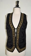 RAFAELLA Vintage Black  Sweater Vest Black Velvet Gold Chain Black Beading Small