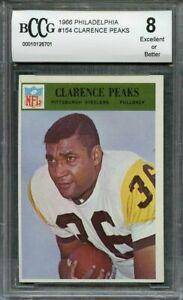 1966 philadelphia #154 CLARENCE PEAKS pittsburgh steelers BGS BCCG 8