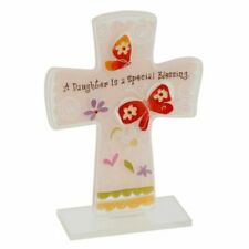 Daughter Special Blessing Glass Cross With Verse 15cm