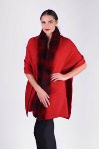 McDonald Possum Merino Fur Womens Shrug Wrap - Red