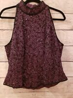 Papell Boutique Evening Top XL Beaded Halter High Neck burgundy party Christmas