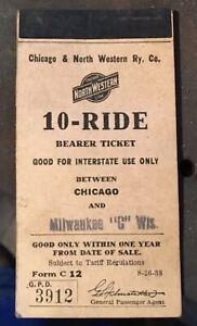Chicago & North Western Railway Railroad Ticket Book 1938 Northwestern