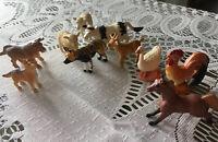 "Vintage Toy Farm Zoo Animals Collectible Lot of 10 Safari Miniature 1"""
