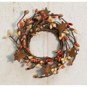 """PRIMITIVE-COTTAGE-PUMPKIN SPICE -2""""  Pip Berry Candle Ring-Rusty Stars-FALL"""
