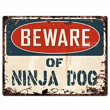 PP1478 Beware of NINJA DOG Plate Rustic Chic Sign Home Room Store  Decor Gift
