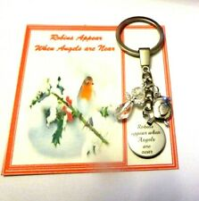 Robins Appear When Angels are Near Keyring Remembrance Gift When Loved ones near