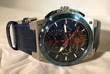 S.U.G. MAGNUM GENTS AUTOMATIC MULTI-FUNCTION WATCH BLUE LEATHER STRAP/BLUE DIAL