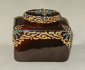 Owens Pottery slip decorated Cyrano Rectangle Covered Vase