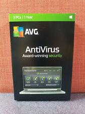 AVG AntiVirus 3 PCs 1 Year,  Windows 10 8 7 Vista XP - CODE ONLY #2661