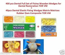 40 Dental Elastic Fixing Wedges + 400 Dental Full Set of Fixing Wooden Wedges