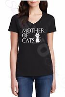 Ladies V-neck Mother Of Cats T Shirt Animal Lovers Tee Rescue Gift Present Women