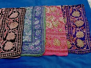 """INDIAN 100% PURE SILK HANDMADE LARGE SQUARE SCARF 26""""x 26"""" 3 COLOURS £9.50 each."""