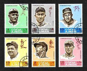 Ajman 1969 Baseball Players complete set of 6 values (Mi 388A-393A) used