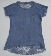 Lola Made in Italy Cotton Short Sleeve Blue/Lace back Top Size S-M