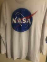 NICE NASA Chemistry White Long Sleeve Graphic Astronaut T-Shirt Men's Size L