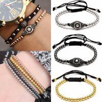 Women Men Lucky Evil Eye Beaded Bracelet Braided Stone Drawstring Bangle Jewelry