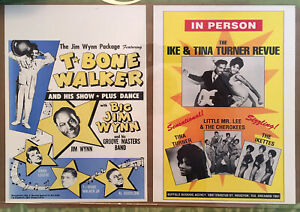 IKE and TINA TURNER plus T-BONE WALKER Show Poster reprints 11x17