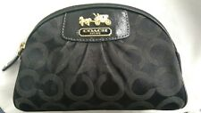 COACH Madison OP Art Signature Black Canvas w/Leather Trim Makeup Bag Clutch