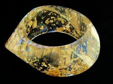 Extra Chunky Clear Lucite Resin Gold Foil Infused Big Bangle Bracelet Wide