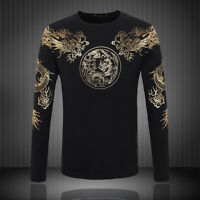 Men black DragonT-shirt breathable long sleeve dragon clothes shirt round neck