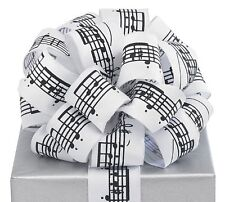 "Black Musical Notes White Ribbon 20 yards 1.5"" wired Bow Craft Decor Music Gift"