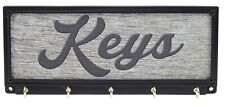 Keys Key Rack Holder Hanger Rustic Farmhouse Decor Print Wall Mount 5 Hooks