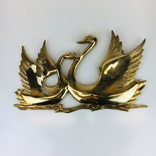 Large Vintage Mid Century Solid Brass Pair Of  Swans On The Water Wall Hanging
