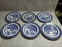 "6 Antique Johnson Bros England Blue Willow Pattern Dinner Plate10.25""  Ironstone"
