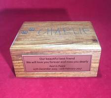 Pet Urn SMALL Personalised pet memorial timber urn with mahogany finish